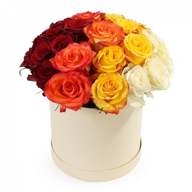 """Коробка цветов """"Янтарный блеск"""""""