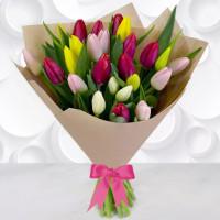 Букет из 25 тюльпанов + упаковка