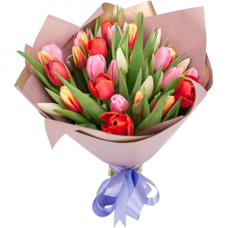 Букет из 35 тюльпанов + упаковка